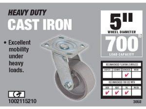 5-Inch Cast Iron Swivel Caster, 800-lb Load Capacity