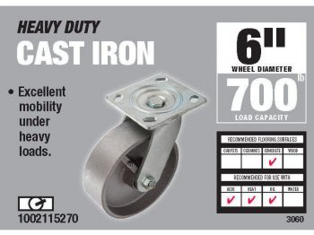 6-Inch Cast Iron Swivel Caster, 900-lb Load Capacity