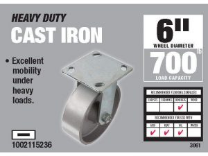 6-Inch Cast Iron Rigid Caster, 900-lb Load Capacity