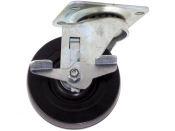 4-Inch Polypropylene Wheel Swivel Plate Caster with Brake, 250-lb Load Capacity