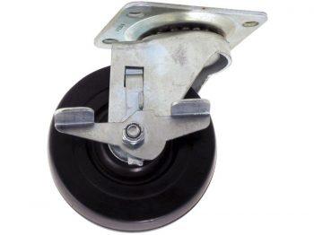 4-Inch Polypropylene Wheel Swivel Plate Caster with Brake, 250-lb Load Capacity