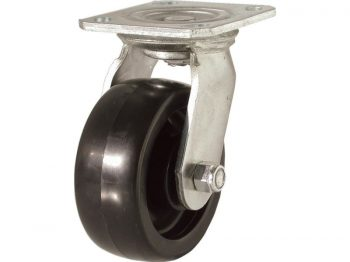 6-Inch Polypropylene Wheel Swivel Plate Caster, 500-lb Load Capacity