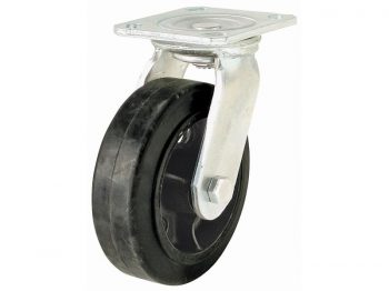 8-Inch Mold-On Rubber Swivel Plate Caster, 500-lb Load Capacity