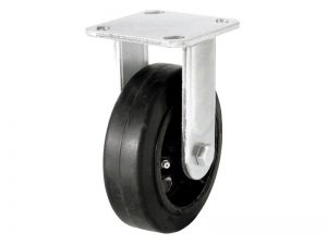 8-Inch Mold-On Rubber Rigid Plate Caster, 500-lb Load Capacity
