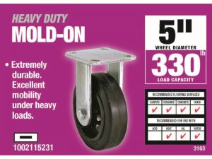 5-Inch Soft Rubber Rigid Caster, 330-lb Load Capacity