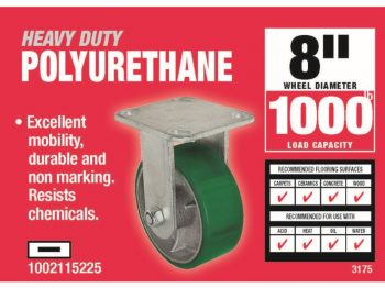 8-Inch Polyurethane Rigid Caster, 1000-lb Load Capacity