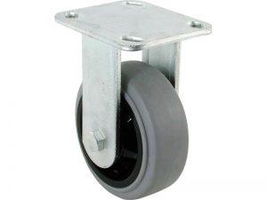 4-Inch Rubber Wheel on Polypropylene Hub Rigid Caster, 300-lb Load Capacity