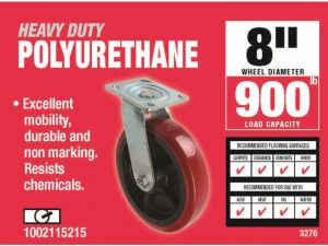 8-Inch Polyurethane Swivel Caster, 900-lb Load Capacity