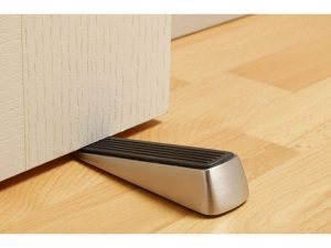 Designer Satin Nickel Door Wedge with Non-Skid Rubber Base Grip