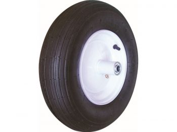 4.80/4.00-8-Inch Pneumatic Wheelbarrow Tire, 16-Inch, Ribbed Tread, 5-Inch Centered Hub, 5/8-Inch Axle Diameter, Ball Bearing