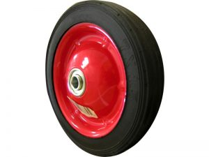 7-Inch Semi-Pneumatic Rubber Tire, Steel Hub with Ball Bearings, Ribbed Tread, 1/2-Inch Offset Axle Diameter