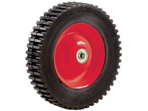 8-Inch Semi-Pneumatic Rubber Tire, Steel Hub with Ball Bearings, Gear Tread, 1/2-Inch Offset Axle Diameter
