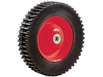 8-Inch Semi-Pneumatic Rubber Tire, Steel Hub with Ball Bearings, Gear Tread, 1/2-Inch Offset Axle Diameter