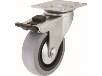 3-Inch Medium Duty Plate Caster with Brake, 121-lb Load Capacity