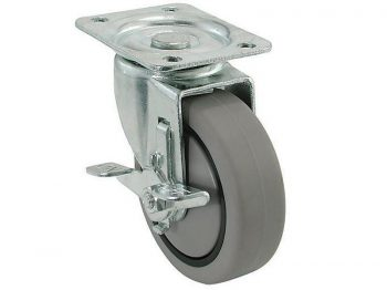 "CASTER SOFT TPR: 3"" (75mm) Swivel Plate w/Brake"