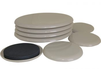 7-Inch and 3-1/2-Inch Reusable, Round, Slide Glide Furniture Sliders, Beige, 8-Pack