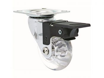 1.4-Inch Clear Designer Casters, Mini Jewel w/Brake 2-Pack