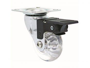 1.4-Inch Clear Designer Casters, Mini Jewel w/Brake 2-Pack