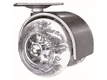 2-Inch Clear Designer Casters, Twin-Jewel