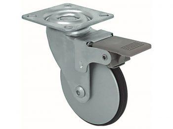 2-Inch Saucer Designer Casters, Aluminum Petite w/Brake