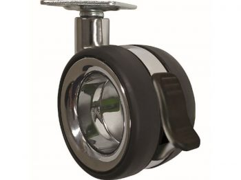3-Inch Hub-Free Designer Casters, Twin Wheel Vacant w/ Brake