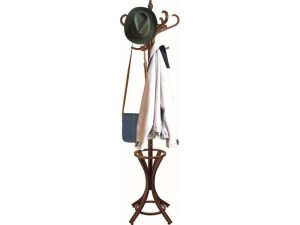 Headbourne Floor Standing Hat and Coat Rack with Umbrella Stand, Solid Wood with Dark Walnut Finish