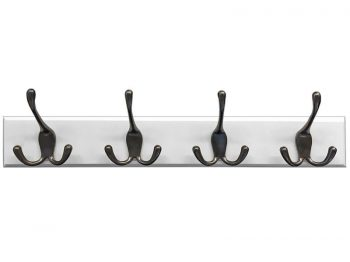 "Headbourne 18"" White Hook Rail / Coat Rack with 4 Black Nickel Triple Hooks"