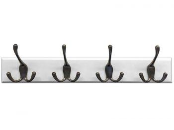 "Headbourne 18"" White Hook Rail / Coat Rack with 4 Black Nickel Triple Hooks"