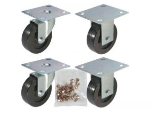 """CASTER KIT: 4"""" (100mm) 2-Swivel Plate, 2-Rigid Plate, 16-Mounting Bolts"""