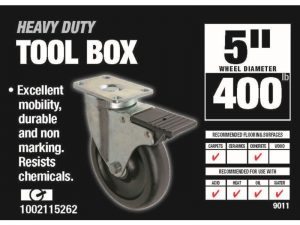 5-Inch Tool Box Swivel Plate Caster with Brake, 400-lb Load Capacity