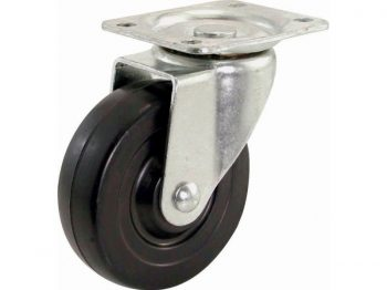 3-Inch Swivel Plate Caster, Soft Rubber Wheel, 110-lb Load Capacity