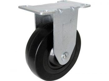 3-Inch Rigid Plate Caster, Soft Rubber Wheel, 110-lb Load Capacity