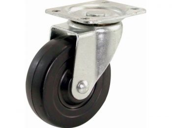 5-Inch Swivel Plate Caster, Rubber Wheel, 325-lb Load Capacity