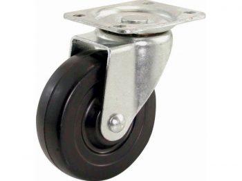 5-Inch Swivel Plate Caster, Rubber Wheel, 325-lb Load Capacity
