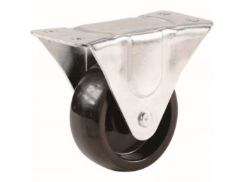 5-Inch Rigid Plate Caster, Rubber Wheel, 325-lb Load Capacity