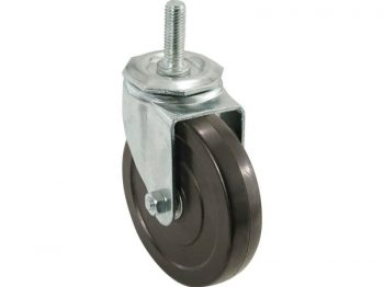 5-Inch Soft Rubber Swivel Stem Caster, 1/2-Inch Stem Diameter, 225-lb Load Capacity