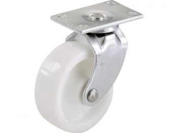 2-Inch Plastic Swivel Plate, Silver & White Caster, 2-Pack