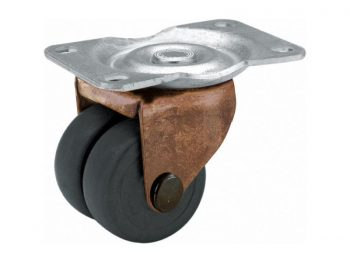 2-Inch Dual Wheel Swivel Plate Soft Rubber Caster, 160-lb Load Capacity