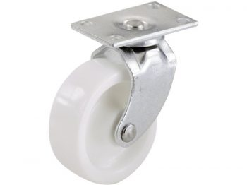 1-1/4-Inch Plastic Swivel Plate, Silver & White Caster, 4-Pack