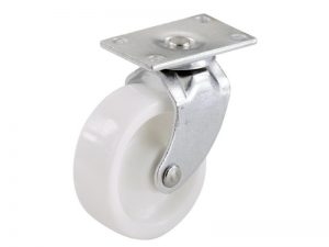 1-5/8-Inch Plastic Swivel Plate, Silver & White Caster, 4-Pack