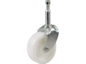 1-5/8-Inch Plastic Swivel Stem, Silver & White Caster, 4-Pack