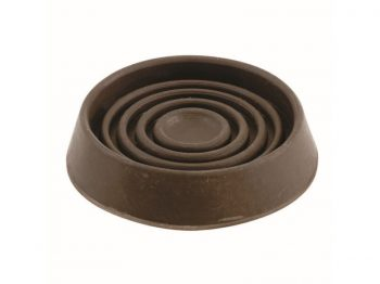 3-Inch Round Rubber Furniture Cups, Brown, 2- Pack