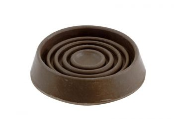 1-1/2-Inch Round Rubber Furniture Cups, Brown, 4-Pack