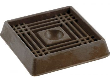 2-Inch Square Rubber Furniture Cups, Brown, 4-Pack