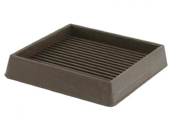 3-Inch Square Rubber Furniture Cups, Brown, 2-Pack