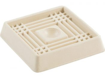 2-Inch Square Rubber Furniture Cups, Off-White, 4-Pack
