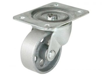 2-1/2-Inch Swivel Plate Cast Iron Caster, 175-lb Load Capacity
