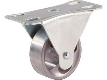 2-Inch Rigid Plate Cast Iron Caster, 125-lb Load Capacity