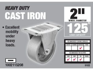 2-Inch Rigid Plate Cast Iron Caster, 125-lb Load Capacity