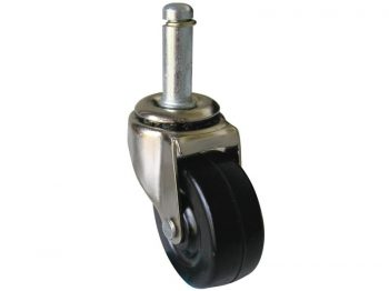 2-Inch Stem Caster, Soft Rubber Wheel, 7/16-Inch x 1-7/8-Inch Stem, 80-lb Load Capacity